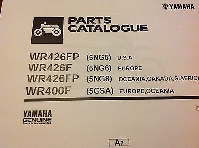 YAMAHA WR 400 F PARTS LIST MANUAL CATALOGUE paper bound copy 2002 5GSA Oceania