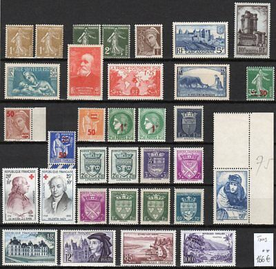 France Lot entre le  n° 277 B et 1194 **, cote: 166 euros.