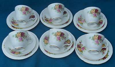 Crown Trent Red/yellow Roses Teaset For 6