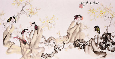 100% ORIGINAL ASIAN ART CHINESE FIGURE WATERCOLOR PAINTING-Antique Beauty&Music
