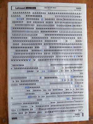letraset rub on transfers beton bold 20pt part used sheet 2406