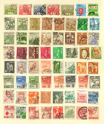 Page of used stamps from Japan