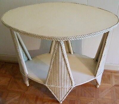 Early 20th Cent American Victorian Oval Wicker Table~Open Sides~Wood Top & Shelf