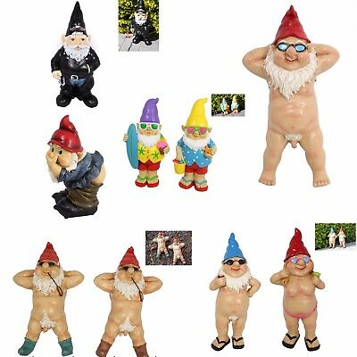 Garden Gnomes Standing Naked Nude Drinking Naughty Statue Biker Farting
