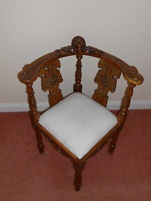 Beautiful Solid Wooden Carved Corner Chair For Sale