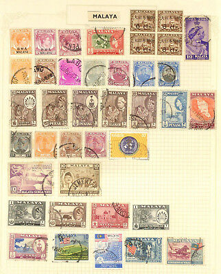 Three pages of used stamps from Malaysia