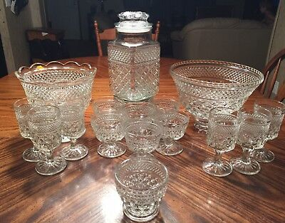Anchor Hocking Crystal Wexford Pattern, LOT OF 16 PIECES!!!