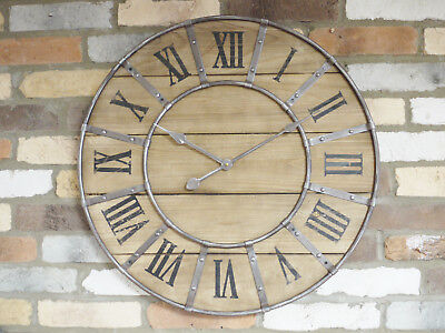 New Extra Large Vintage Antique Wood Metal Hands Decorative Wall Art Clock 66cm