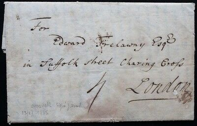 1735 Morval – London, interesting letter: Edward Trelawny and West Indies !