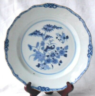C18Th Chinese Blue And White Plate Decorated With Bamboo