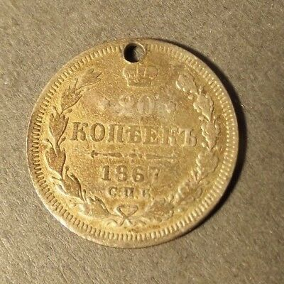 Russia Silver 20 Kopek Coin Dated 1867 Holed 3.32 Grams