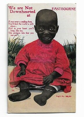 Black Baby We are Not Downhearted at Eastbourne Pull Out Postcard c.1910  589B