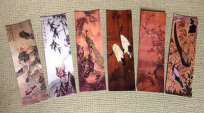 Set of 6 Laminated Japanese Bird Print Bookmarks