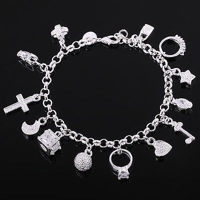 New Solid 925 Sterling Silver jewellery chain Bracelet Design Bangle Xmas Gift