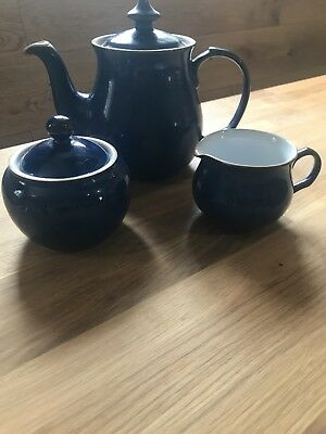 DENBY Tea Set Imperial Blue Tea Pot, Milk Jug and sugar bowl