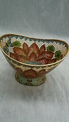 Beautiful vintage Chinese plique a jur butterfly lotus bowl