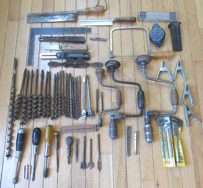 Large Lot of Woodworking Tools - Braces, Brace Bits, Saws, Bevels, Drivers