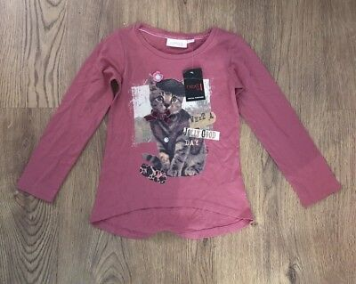 Next Girls Pink Cute Cat Long Sleeved Cotton Top Age 5 Years Bnwt
