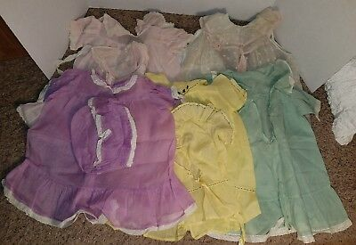 Lot of Antique Baby or Doll Clothes - Dresses with Bonnets