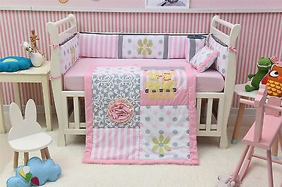 Pink Floral 8 Piece Crib Bedding Sets Baby Nursery Bedding Crib Cot Sets Girl