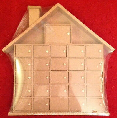 25 Days Of Christmas Unfinished Wooden House Advent Calendar 35 X 7 X 40 cm