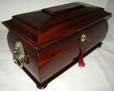 LOVELY LARGE MAHOGANY & BRASS VICTORIAN TEA CADDY with key & mixing bowl