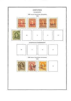 [OP3383] Costa Rica lot of stamps on 12 pages - see photos in description