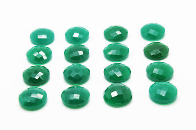 1x Natural Semiprecious Faceted Green Onyx Round Cabochon Gemstone 8mm Size New