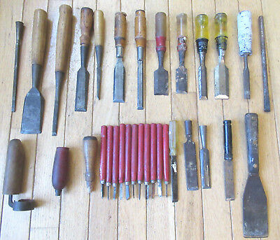 Large Lot of Woodworking Tools - Chisels, Gouges & Carving Tools