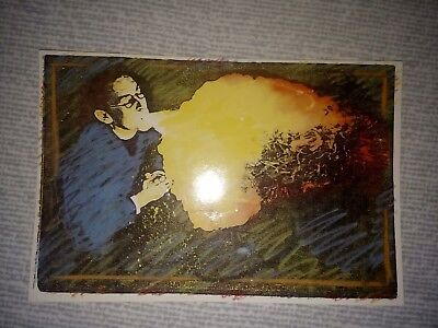Fire breathing vicar postcard Circus breather performer blowing vintage card