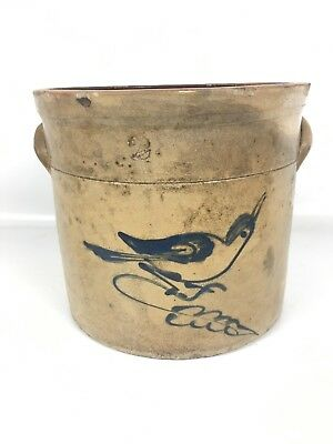 Antique Stoneware Crock Blue Bird Small 2 Gal Dark