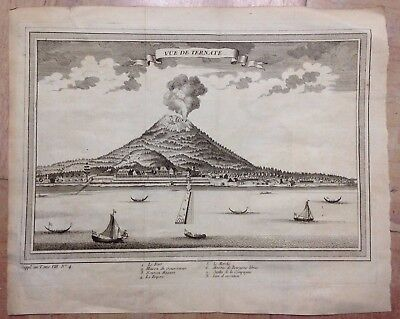 Ternate Moluccas 1755 By Nicolas Bellin Antique Copper Engraved View