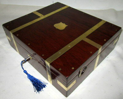 SUPERB ANTIQUE LARGER THAN AVERAGE SOLID MAHOGANY & BRASS BOUND BOX with key