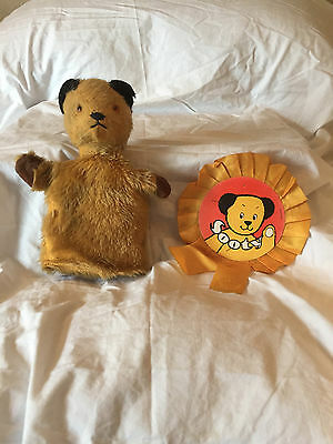 VINTAGE SOOTY PUPPET AND ROSETTE 1970s