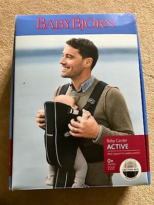 Baby Bjorn Active Baby Carrier In Black & Silver Boxed Babybjorn