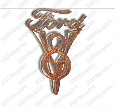 DXF CNC dxf for Plasma Router Vector Ford V8 Logo Man Cave Wall Decor