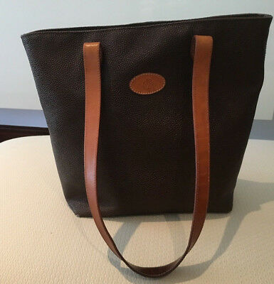 Vintage Mulberry Brown Scotchgrain And Tan Leather Tote Bag