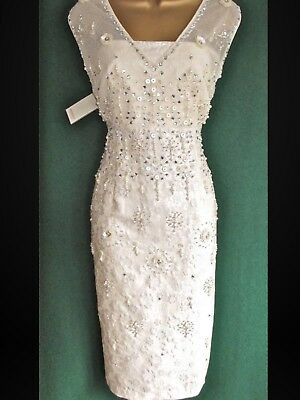 Monsoon Cream Jacquard Simran Beaded Dress - Size 12  Brand New With Tags