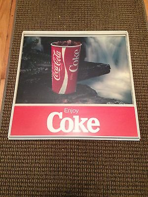 "Vintage Enjoy Coke Sign With Insert Rare Waterfall 18"" X 17 3/4"" Retro Plastic"