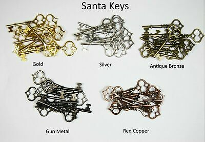 Santa Keys - Choice of Colour and Qty -  Metal Charms Steampunk Parts Findings