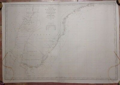 BRAZIL ARGENTINA PARAGUAY VERY LARGE SEA CHART 1869 XIXe CENTURY