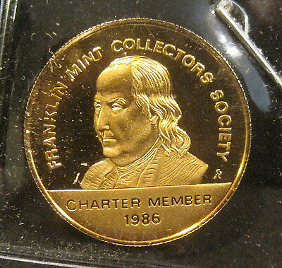 1986 Franklin Mint Charter Member Society Coin-24kt. Gold Plated on Sterling! K5