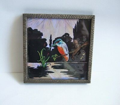 Lovely Vintage Art Deco Butterfly Wing Picture of a Kingfisher Bird Over a Lake
