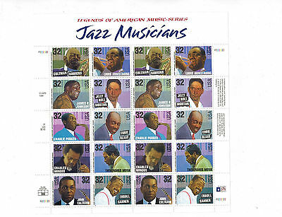 Jazz Musicians #2983-92 full mint sheet of 20 fresh