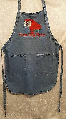 Green Wing Macaw Parrot, Bird Embroidered on A Denim Apron