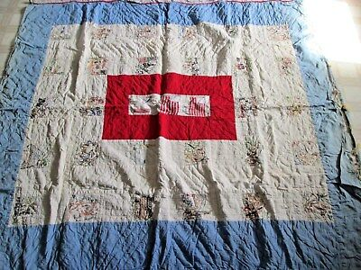 """Antique1920s Hand Embroidered Quilt Frontier America 28-4.5"""" sq + ctr 66"""" x 69"""""""
