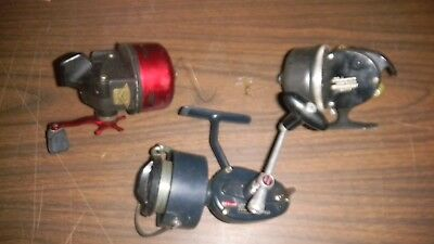Three Collectible Fishing reels 1- Mitchell 410 1-Shakespeare 1-Garcia