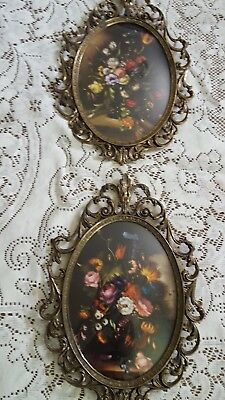 Pair Of Vintage Ornate Brass Concave Bubble Glass Picture Frame -Made In Italy