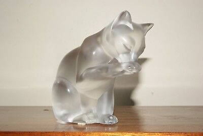 Lalique Crystal - Cat Grooming Figurine - Retired