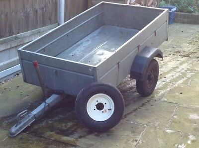 Galvanised metal trailer with stand and new spare wheel.